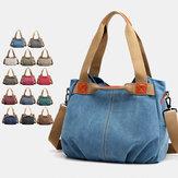 Kvinder stor kapacitet lærred håndtaske skulder taske crossbody tasker