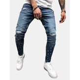 Men's Trendy Stitching Holes Slim Jeans