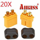 20pcs Amass XT60 + conectores masculinos e fêmeas da tomada com alojamento da bainha