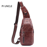 Men Genuine Leather Anti-Theft Crossbody Bag Chest Bag