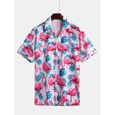 Männer Flamingo Leaf Print Kurzarm Hawaiihemden