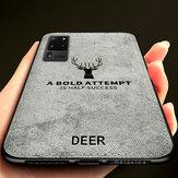 BAKEEY Deer Classic Canvas doek schokbestendig TPU beschermhoes voor Samsung Galaxy S20 Ultra