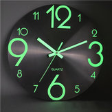 Luminous Wall Clock Number Quartz Hanging Clocks Glow In The Dark Bedroom Decor