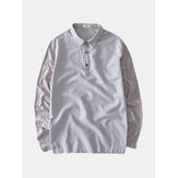 Mens Breathable Comfy Solid Color Patchwork Loose Vintage Casual T-Shirts