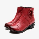 Original              Women Vintage Handmade Flower Leather Ankle Boots