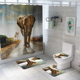 4/3/1PCS Elephant Bathroom Toilet Floor Mat Waterproof Shower Curtain Non-slip Flannel Coloured Door Mat Bathroom Carpet