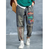 Cartoon Fish Patch Stripe Jeans