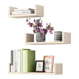 3-In-1 Modern Simple Wall Mounted Bookshelf Creative Nail-free File Books Racks Wall Display Shelf for Office Home Bedroom Living Room Decorations