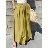 Cintura elástica feminina de algodão solto perna larga Calças com bolsos