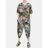 Costume de mode lâche imprimé à la moitié des manches pour hommes