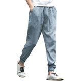 Mens Summer Cotton Linen Breathable Drawstring Pants