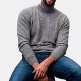 Mens Cotton Fashion Stehkragen Volltonfarbe Lässige Pullover