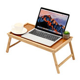 Bamboo Wooden Table Bed Tray With Folding Legs Serving Breakfast Lap Tray