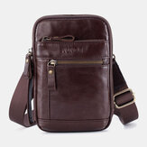 Men Genuine Leather Multi-layer Shoulder Bag Waist Belt Bag