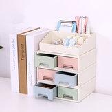 Plastic Drawer Makeup Storage Box White Top Grid Organizer Bedroom Jewelry Display Case