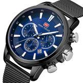 MINI FOCUS MF0142G Ultra Thin Mesh Steel Men Quartz Watch