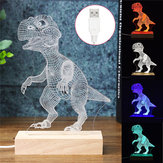 Akrylowa lampka biurkowa 3D Dinozaur USB LED Lampka nocna Kid Cartoon Lantern Gifts