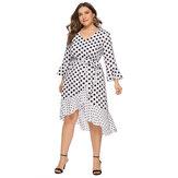 Горошек с V-образным вырезом и нерегулярным низом, без рукавов, повседневная одежда Платье