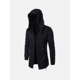 Mens Zwart Mode Casual Mid Long Cloakman Cloak Hooded Jacket