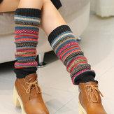 Senshoes vendimia Pilas de moda a rayas de color calcetines Botas Leggings Piernas coreanas