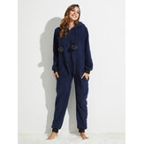 Front Zipper Hoodie Long Sleeve Flannel Onesie Jumpsuits