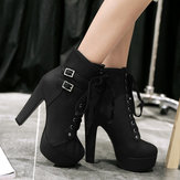 Plus Size Stiletto Heel Buckle Strap Boots For Women