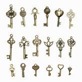 18Pcs Antique Bronze Key Retro Pendant Kit Necklace bracelet Anklet Decorations