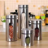 Stainless Steel Storage Jar Tea Coffee Sugar Kitchen Glass Canister Container Kitchen Storage Container