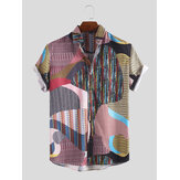 Men Colorful Irregular Pattern Mix Stripe Short Sleeve Shirt
