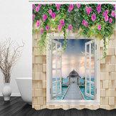 180×180cm3D Waterproof Bath Bathroom Shower Curtain Printing Polyester With 12 Hook