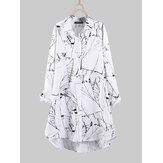 Women Floral Print Turn-Down Collar Irregular Hem Button Blouse