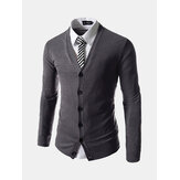 Fashion Pure Color Strik Cardigan Slim Fit V-hals Cardigan