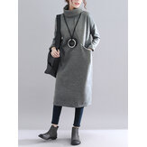 Solid Color Turtleneck Loose Causal Sweatshirt Dress