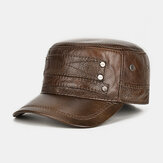 Top Hat Male Hat Top Layer Cowhide Warm Flat Hats