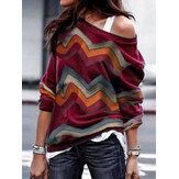 T-shirt manica lunga monospalla patchwork a righe