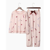 Cotton Sweety O-Neck Printed Long Sleeve Casual Pajamas