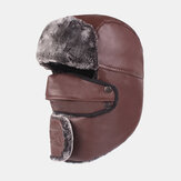 Men's Leather Warm And Windproof Outdoor Hat Thickening Riding Earmuffs Trapper Hat Snow Cap
