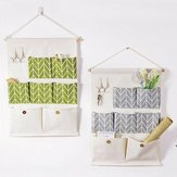 Cotton Linen Door Wall Home Hanging Bag Hanger Organizer Storage Pouch 7 Desktop Organizer