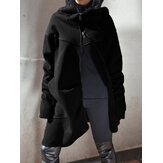 Women Hoodie Dress Long Hooded Zip Tops Sweatshirt Asymmetric Coats