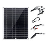 50W 20V IP65 Solar Panel with Dual USB Port 10-in-1 Charging Cable Power Bank
