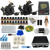 Complete Tattoo Machine Kit 2 Tattoo Guns 20 Colors Ink Pigment Set w/Case Power Supply