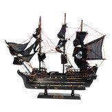 Siyah Model Korsan Gemisi Vintage Ahşap Yelkenli Ev Dekorasyonu Bot Hediye Oyuncak