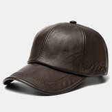 Collrown Men PU Leather vendimia Gorra de béisbol Personalidad con tejido Sombrero
