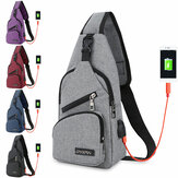 Moda Canvas Bolsa Sport Chest Pack USB de carregamento Crossbody Shoulder Bolsa