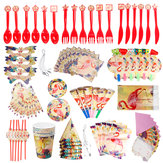 84Pcs Flamingo Kids Birthday Party Tableware Set Decor Plates Mask Paper Box Cup Decoration Toys
