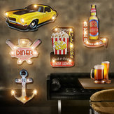 Retro Vintage LED Placa De Lata De Metal Cartaz Placa Bar Pub Club Wall Home Decor LED Placa de Metal Sinal Decorações de Natal