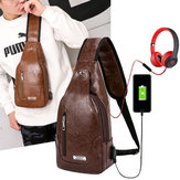 Men Multifunctional USB Casual Chest Bag Crossbody Bag