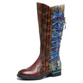 SOCOFY Women Pattern Leather Stitching Comfy Mid Calf Boots