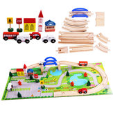 40 PCS Wooden Car Track Disassembly and Other Accessories City Track Overpass Traffic Scene Combination Educational Toys