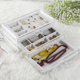 Acrylic 3 Layers Velvet Jewelry Box Display Holder Desktop Pendant Ring Earring Organizer Space Saving Jewelry Makeup Storage Case